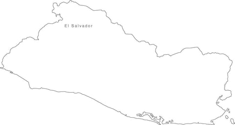 Digital Black & White El Salvador map in Adobe Illustrator EPS vector format