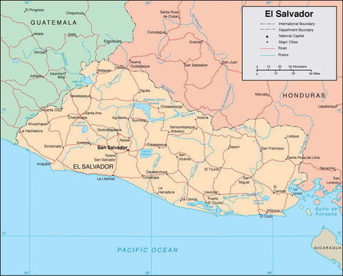 Digital El Salvador map in Adobe Illustrator vector format