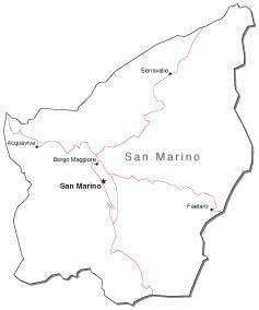 San Marino Black & White Map With Major Cities