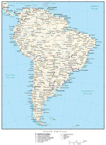 South America Map with Country Boundaries, Capitals, Cities, Roads and Water Features