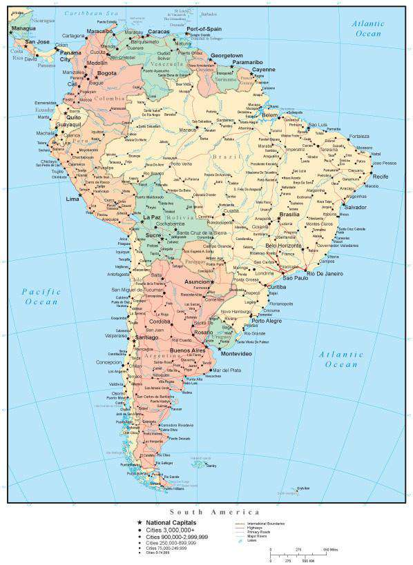 South America Map with Countries, Cities, and Roads – Map Resources
