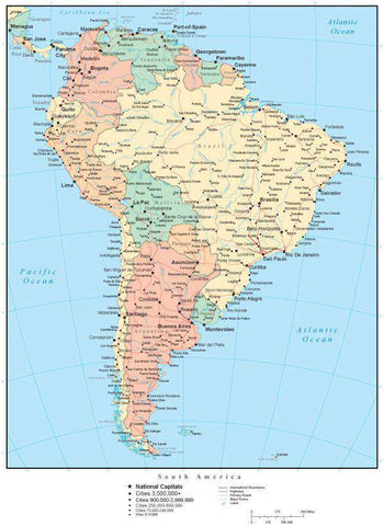 South America Map with Countries, Capitals, Cities, Roads and Water Features