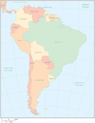 South America Multi Color Map with Countries