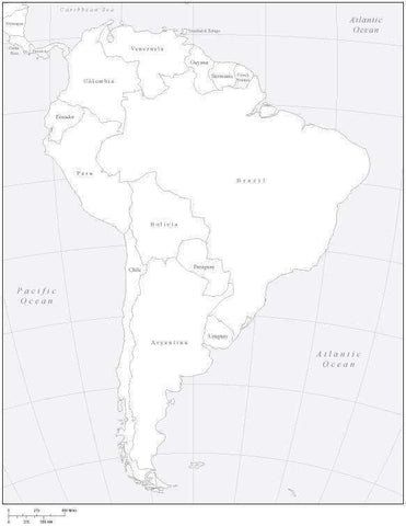 South America Black & White Map with Countries