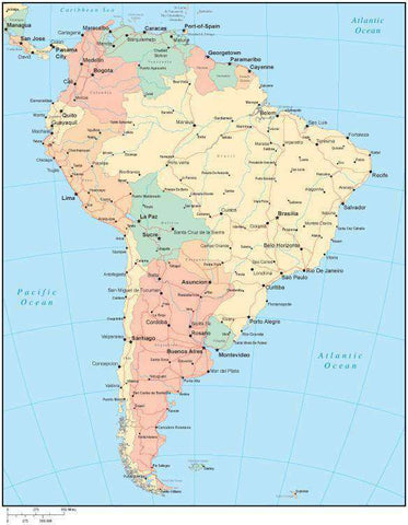 Multi Color South America Map with Countries, Capitals, Major Cities and Water Features