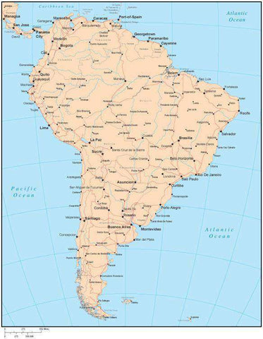 Single Color South America Map with Countries, Capitals, Major Cities and Water Features
