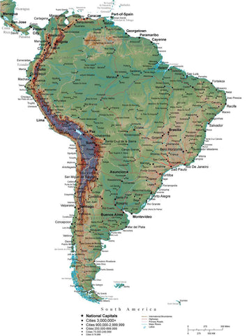 South America Terrain map in Adobe Illustrator vector format with Photoshop terrain image SOAMER-542943