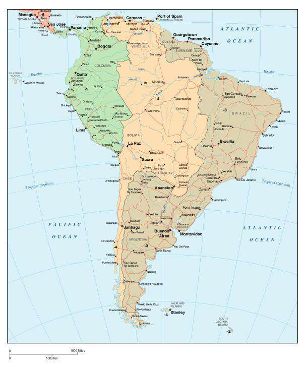 Map Of South America Time Zones.South America Map With Time Zones