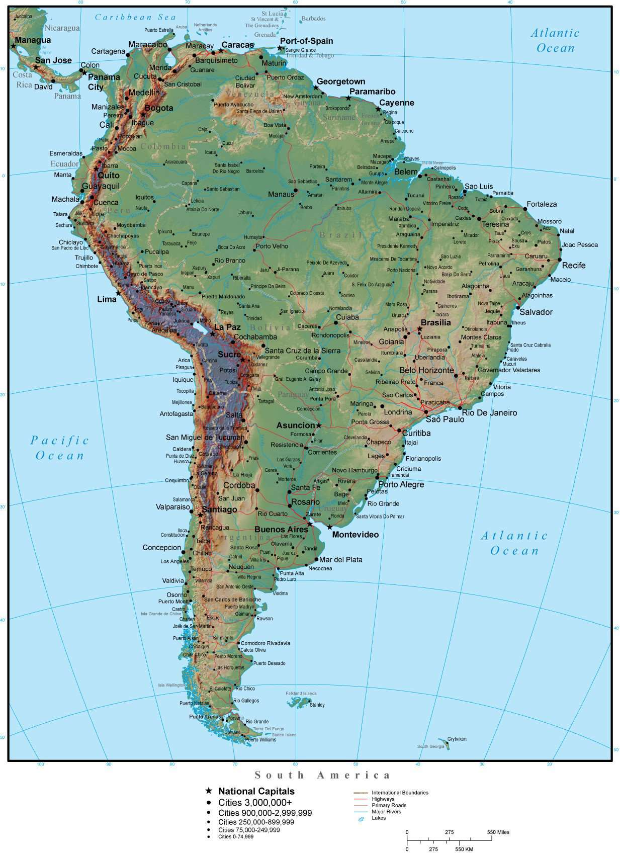South America Map Plus Terrain with Countries, Capitals, Cities, Roads, and  Water Features