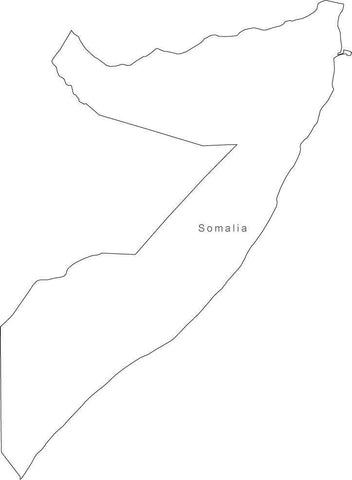 Digital Black & White Somalia map in Adobe Illustrator EPS vector format