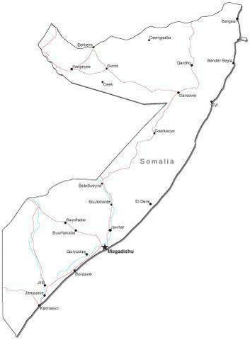 Somalia Black & White Map with Capital, Major Cities, Roads, and Water Features