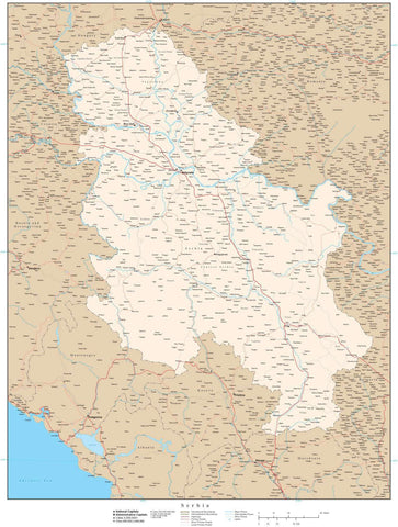 High Detail Serbia Map