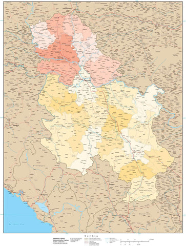 High Detail Serbia Map with Internal District Boundaries