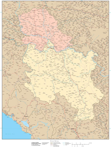 High Detail Serbia Map with Internal Admin Area Boundaries