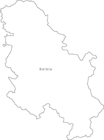 Digital Black & White Serbia map in Adobe Illustrator EPS vector format