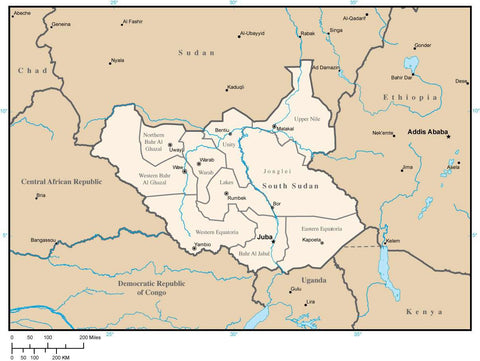 South Sudan Map with Administrative Areas and Capitals