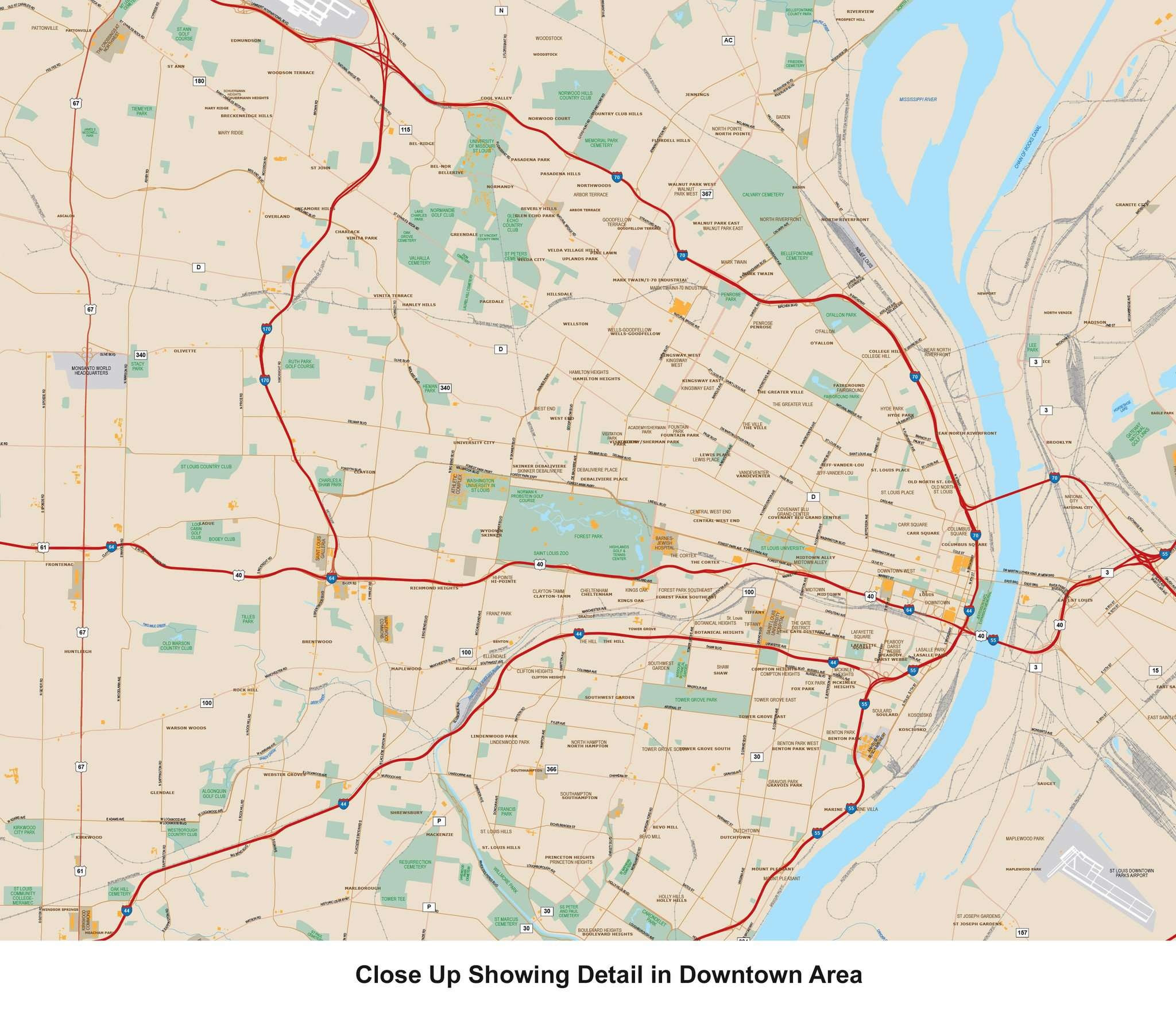 St. Louis MO Metro Area Vector Map with Major Roads – Map Resources