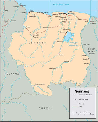 Digital Suriname map in Adobe Illustrator vector format