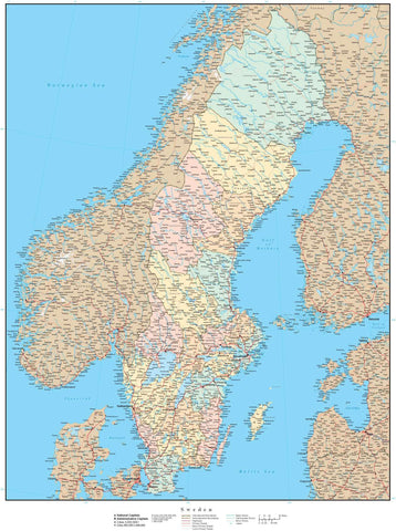 Sweden Map - High Detail with Counties