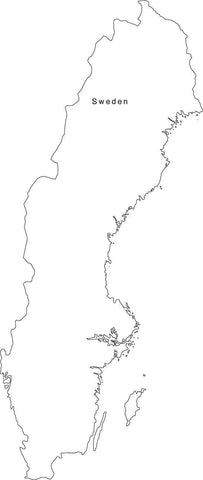 Digital Black & White Sweden map in Adobe Illustrator EPS vector format