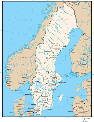 Sweden Map with County Areas and Capitals