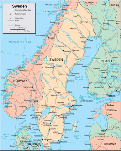 Digital Sweden map in Adobe Illustrator vector format