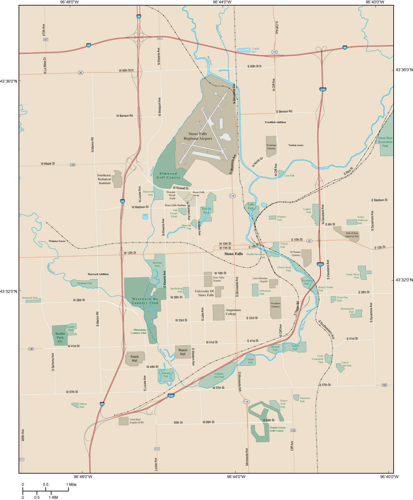Sioux Falls SD Map - Metro Area with Major Roads on mn map, vg map, wy map, co map, il map, wi map, tx map, cif map, canada map, usa map, penh map, nd map, kr map, id map, pal map, south dakota highway map, ne map, tn map, et map, eastern ia map,