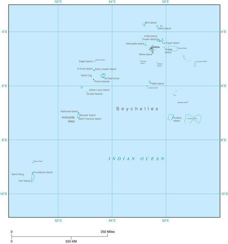 Digital Seychelles map in Adobe Illustrator vector format