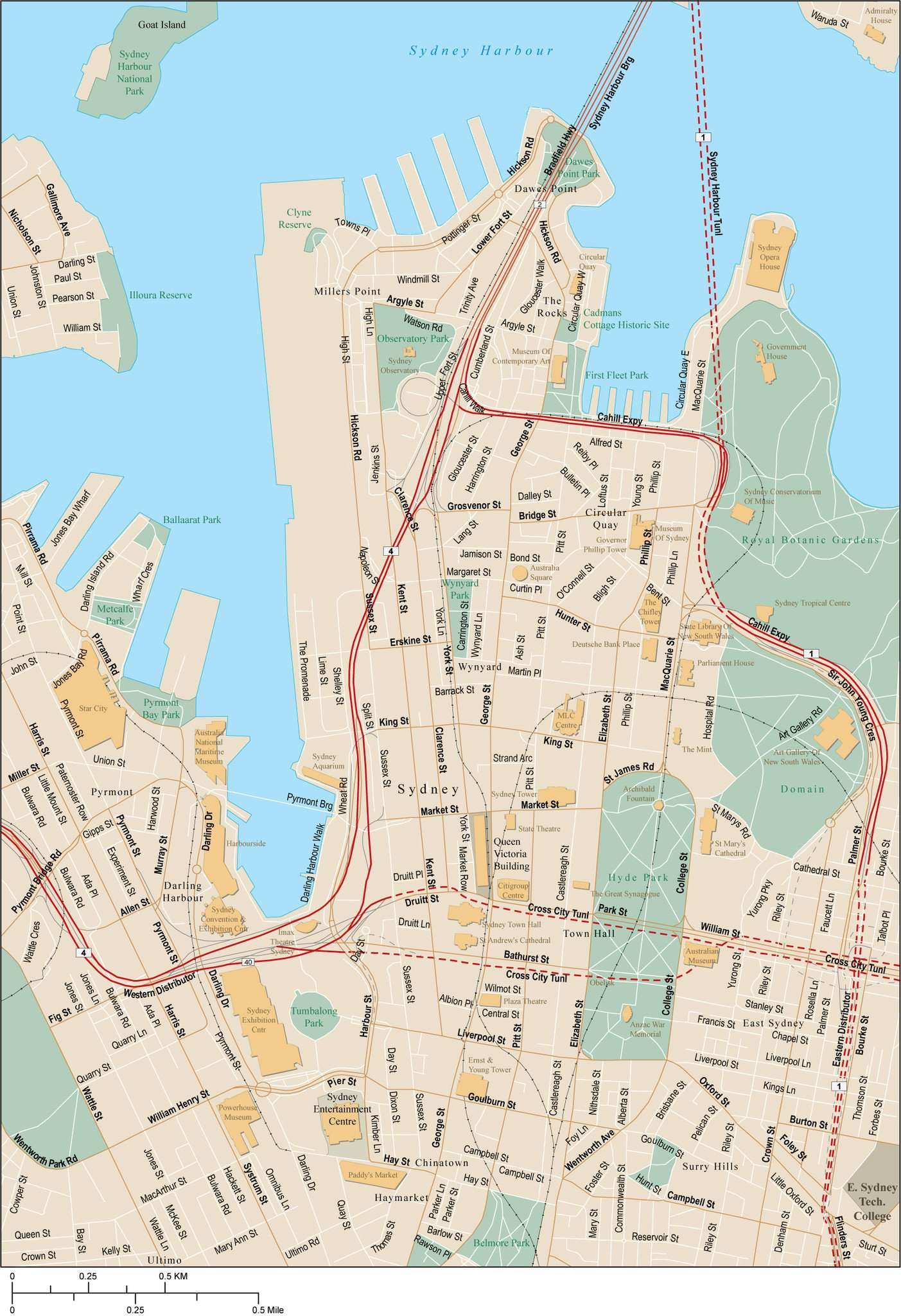 Australia Map City Names.Sydney Map With Local Streets In Adobe Illustrator Vector Format