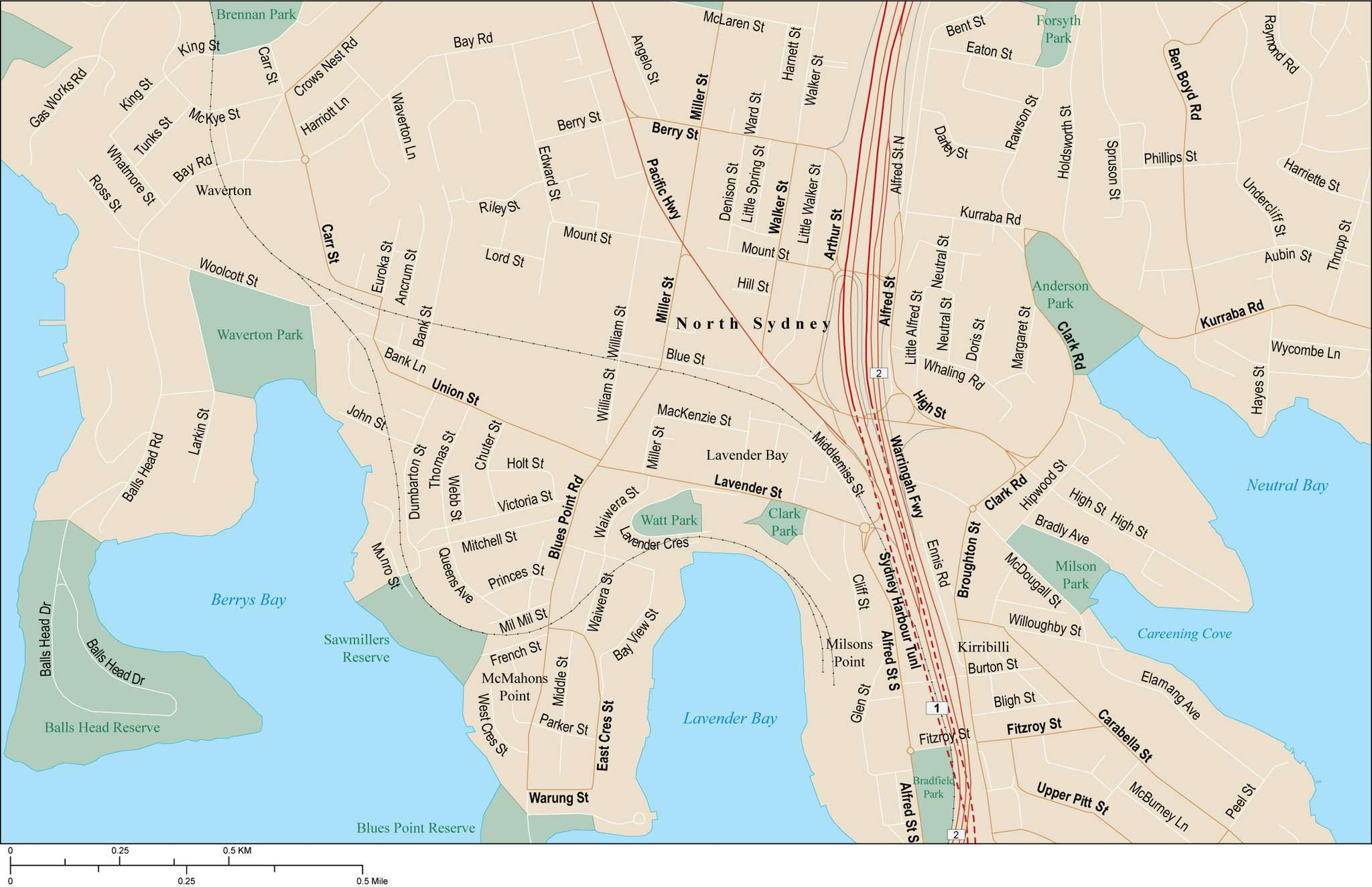 Australia Map City Names.North Sydney Map With Local Streets In Adobe Illustrator Vector