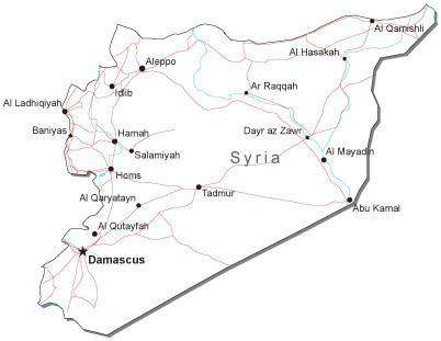 Syria Black & White Map with Capital, Major Cities, Roads, and Water Features