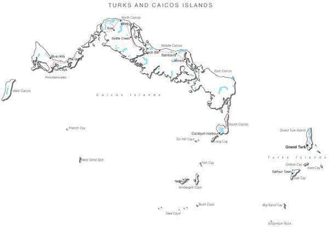 Turks and Caicos Islands Black & White Map with Capital, Major Cities, Roads, and Water Features