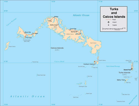 Digital Turks Caicos Islands map in Adobe Illustrator vector format