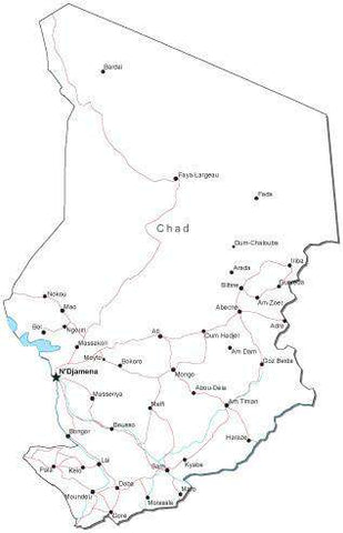 Chad Black & White Map with Capital, Major Cities, Roads, and Water Features