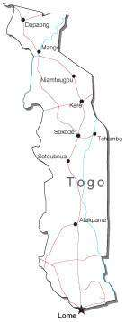 Togo Black & White Map with Capital, Major Cities, Roads, and Water Features