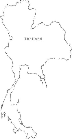 Digital Black & White Thailand map in Adobe Illustrator EPS vector format