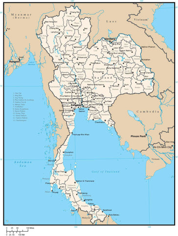 Thailand Digital Vector Map with Province Areas and Capitals