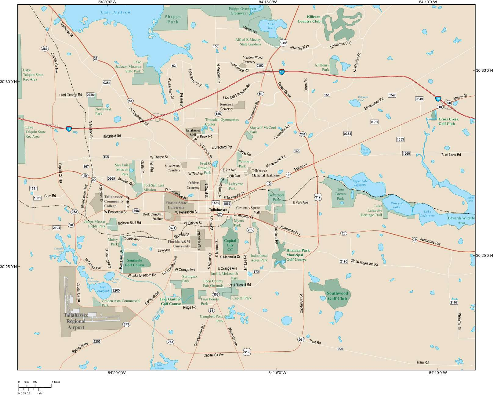 Tallahassee FL Map - Metro Area - 154 square miles - with Major Roads
