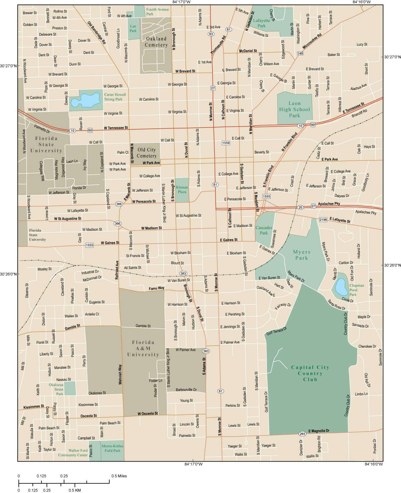 Tallahassee Map with Local Streets in Adobe Illustrator vector ...