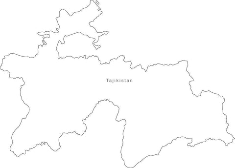Digital Black & White Tajikistan map in Adobe Illustrator EPS vector format