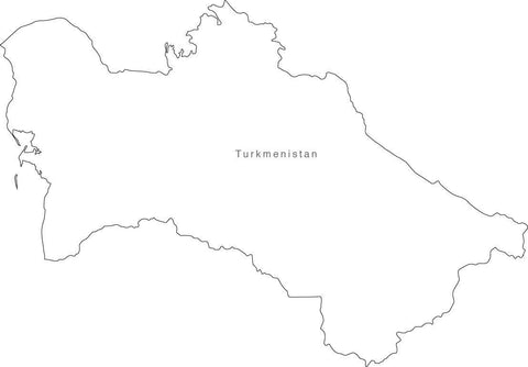 Digital Black & White Turkmenistan map in Adobe Illustrator EPS vector format