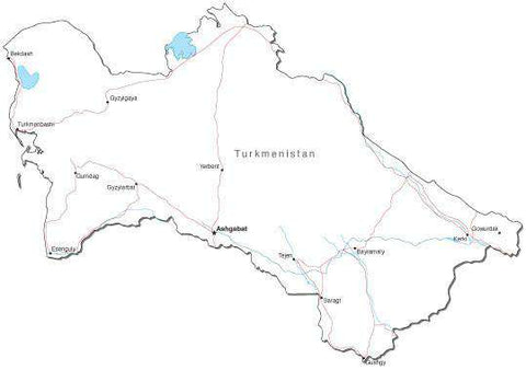 Turkmenistan Black & White Map with Capital, Major Cities, Roads, and Water Features