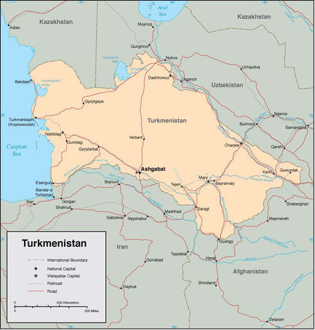 Digital Turkmenistan map in Adobe Illustrator vector format