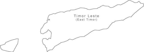 Digital Black & White East Timor map in Adobe Illustrator EPS vector format