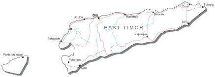 East Timor Black & White Map with Capital, Major Cities, Roads, and Water Features