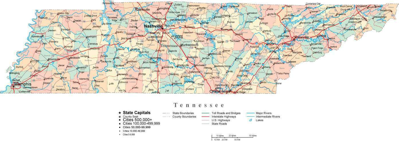 Tennessee Digital Vector Map With Counties Major Cities Roads - Usa map with major cities and highways