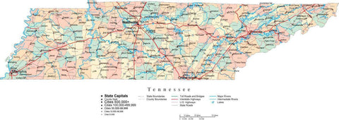 Tennessee State Map - Multi-Color Cut-Out Style - with Counties, Cities, County Seats, Major Roads, Rivers and Lakes