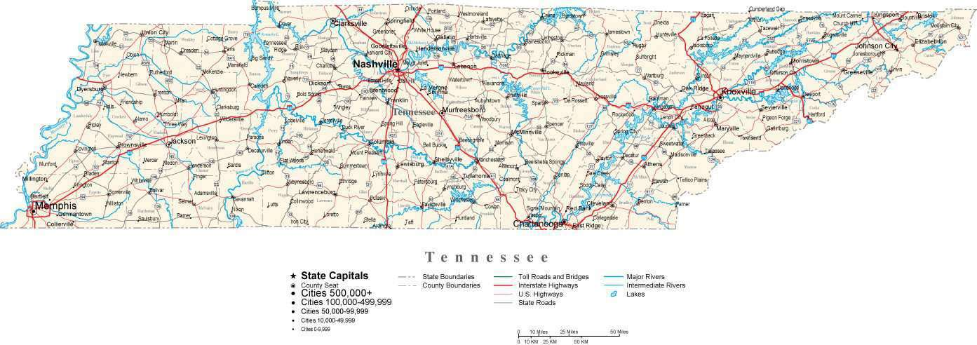 Tn State Map With Cities.Tennessee State Map In Fit Together Style To Match Other States