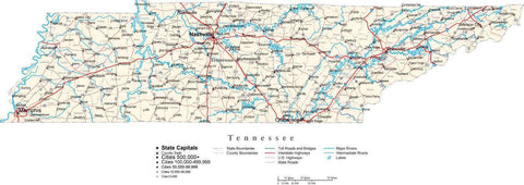 Tennessee Map - Cut Out Style - with Capital, County Boundaries, Cities, Roads, and Water Features