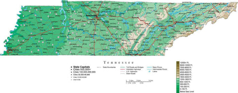 Tennessee Map  with Contour Background - Cut Out Style